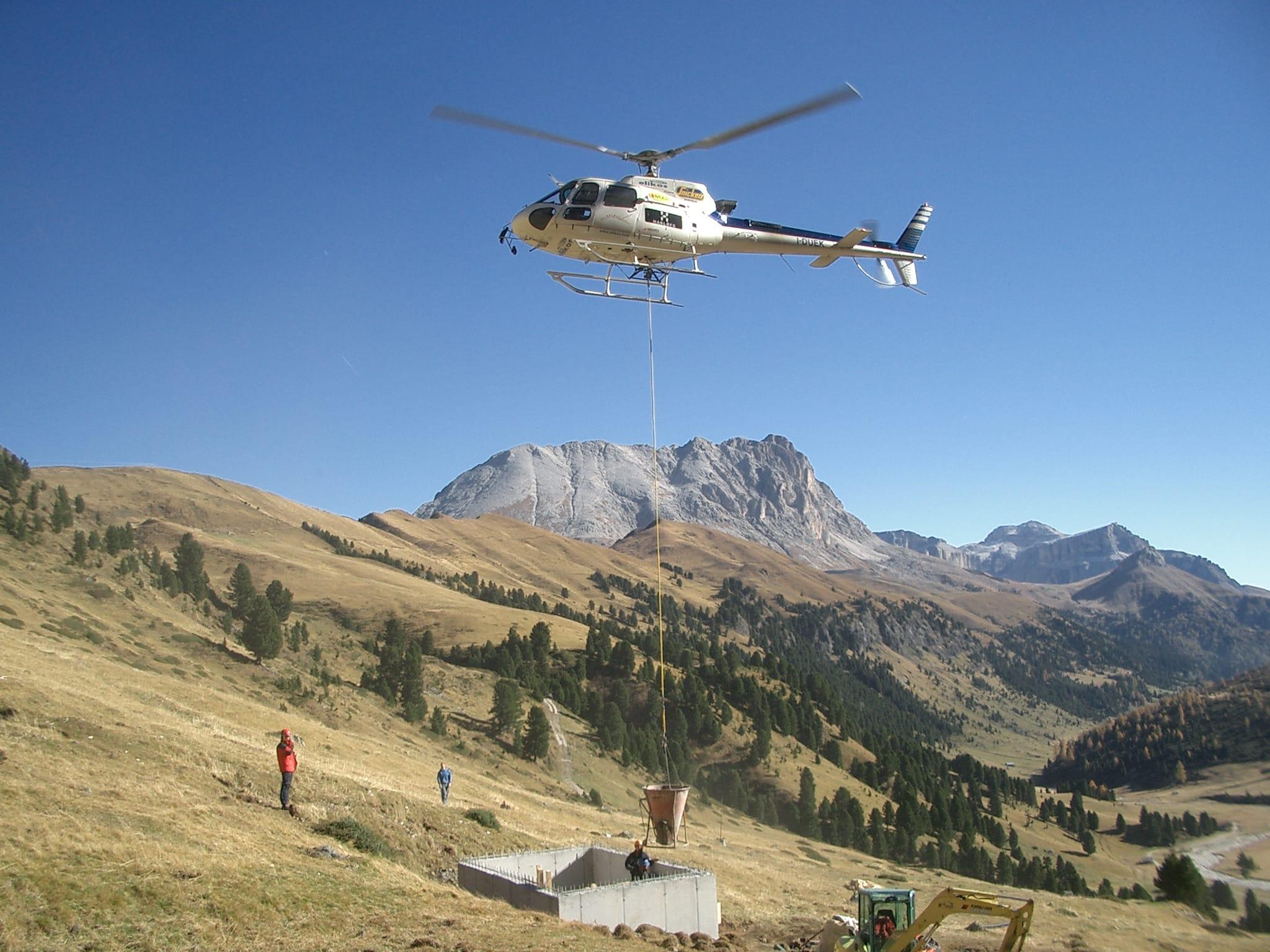 Getto con elicottero Vasca Val Duron